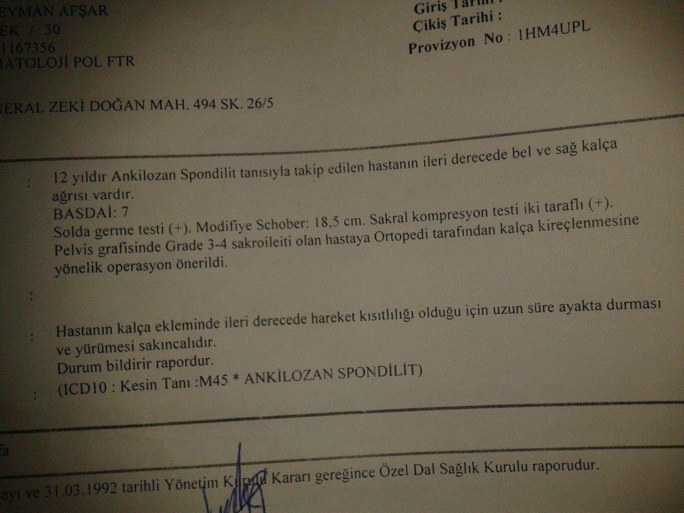 aBVk2g - Ankilozan Spondilit hastasıyım. Özürlü Raporu Almak İstiyorum..?