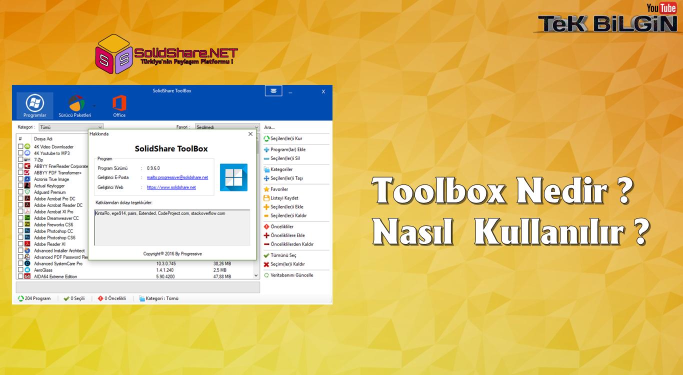 SolidShare ToolBox 0.9.6 Nedir ? Nasıl Kullanılır ?