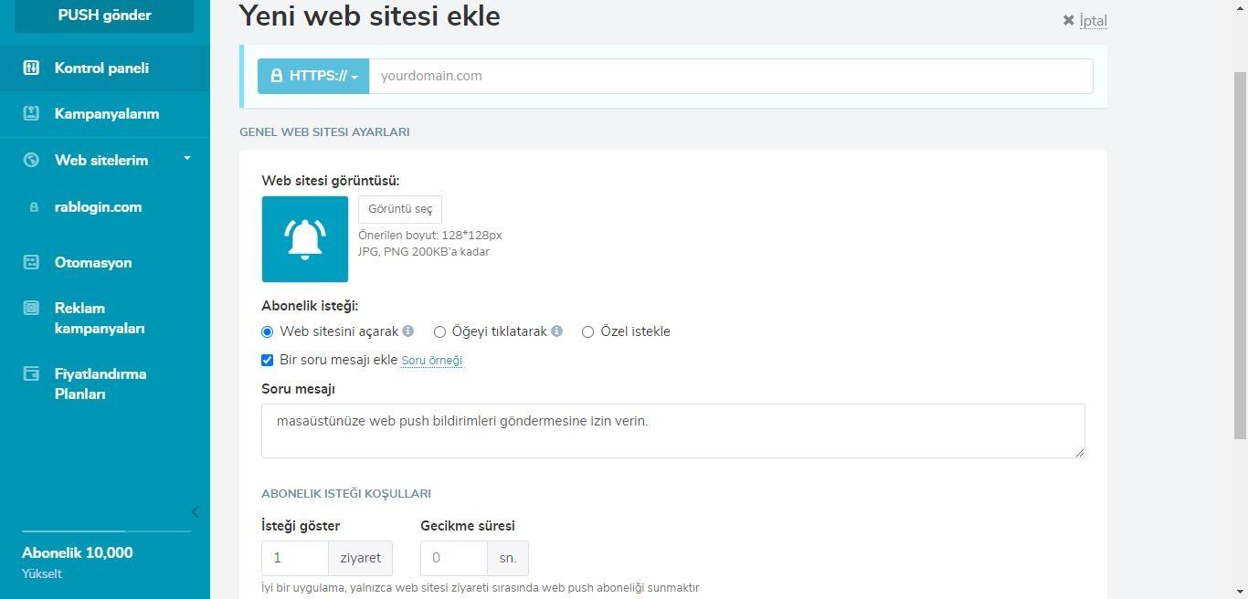 SendPulse Yeni web sitesi ekle