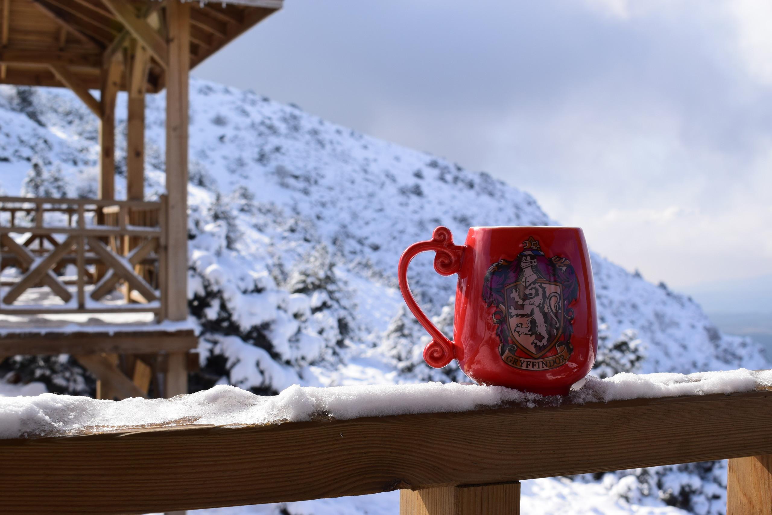 Karlı bir manzarada kırmızı bir kahve kupası fotoğrafı. Arka planda dağdaki çam ağaçları karla kaplanmış. Bardak Harry Potter serisindeki Gryffindor binasının sembolünü taşıyor.