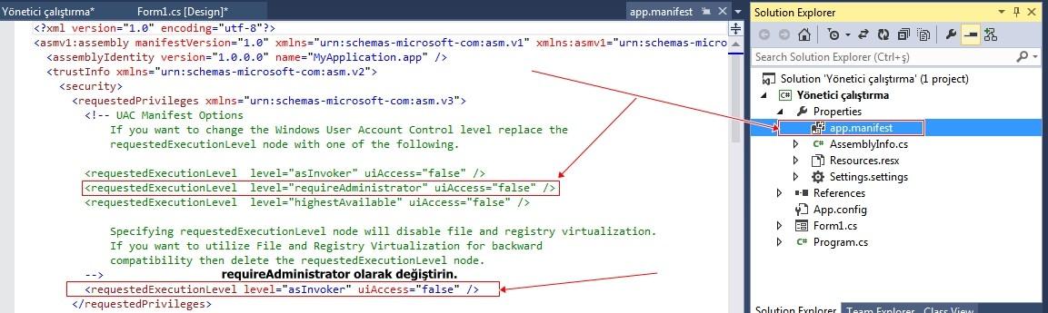 C# Projenizi Yönetici Olarak Çalıştırma