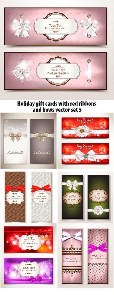 Holiday Gift Cards-Ribbons Vector