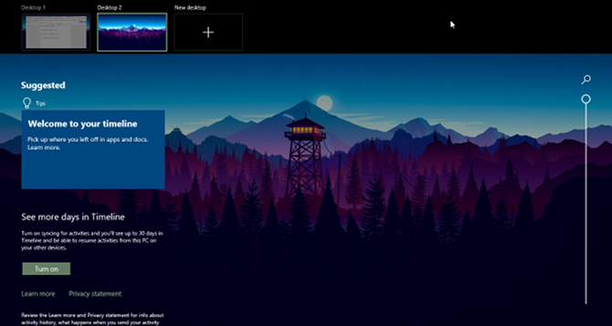 windows 10 zaman çizelgesi