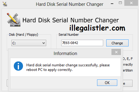 change hdd volume serial number