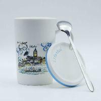 İstanbul Galata Desenli Kapaklı Kupa Bardak