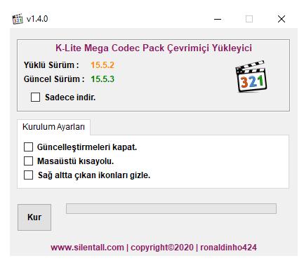 K-Lite Mega Codec Pack Çevrimiçi Yükleyici 1.4.0