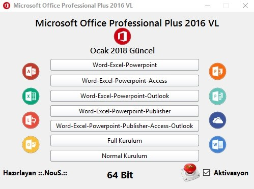 Microsoft Office Professional Plus 2016  VL  - 32 Bit - 64 Bit (Ocak 2018) | Katılımsız