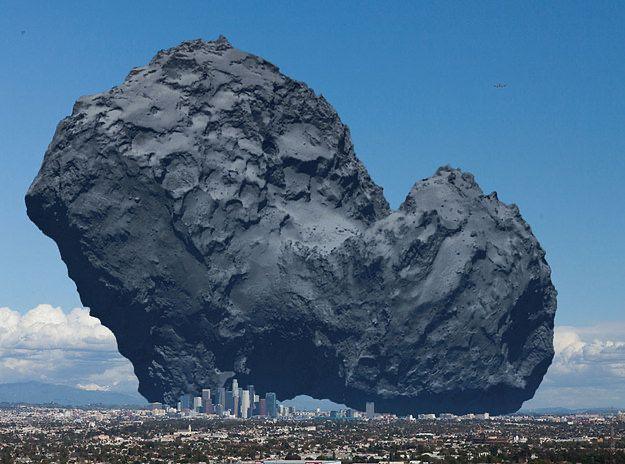 Comet 67P'nin büyüklüğüne karşı Los Angeles kıyaslaması