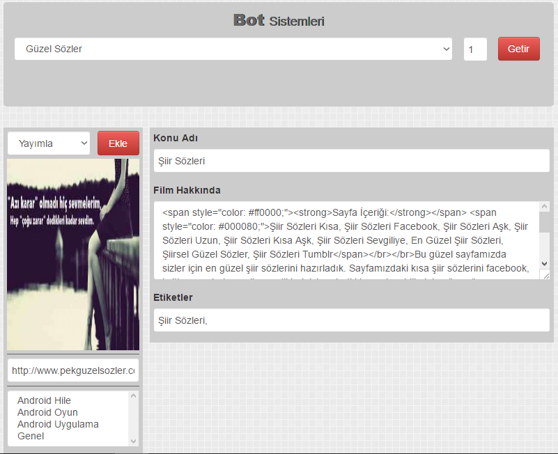 Wordpress Ücretsiz Güzel Sözler Botu