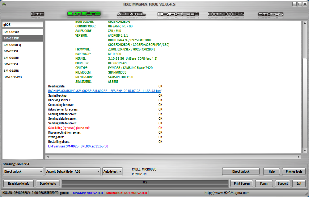 HxcMagma ver 1 0 4 5 Hot Update !! Direct Unlock Samsung