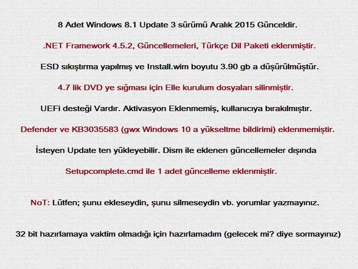 Windows 8.1 Update 3 | x64 | 8 in 1 | 2015 Aralık