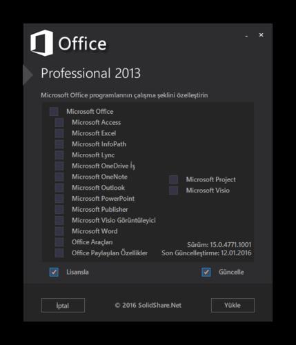 Microsoft Office 2013 Pro Plus - Project Pro - Visio Pro SP1 VL TR | Nisan 2016