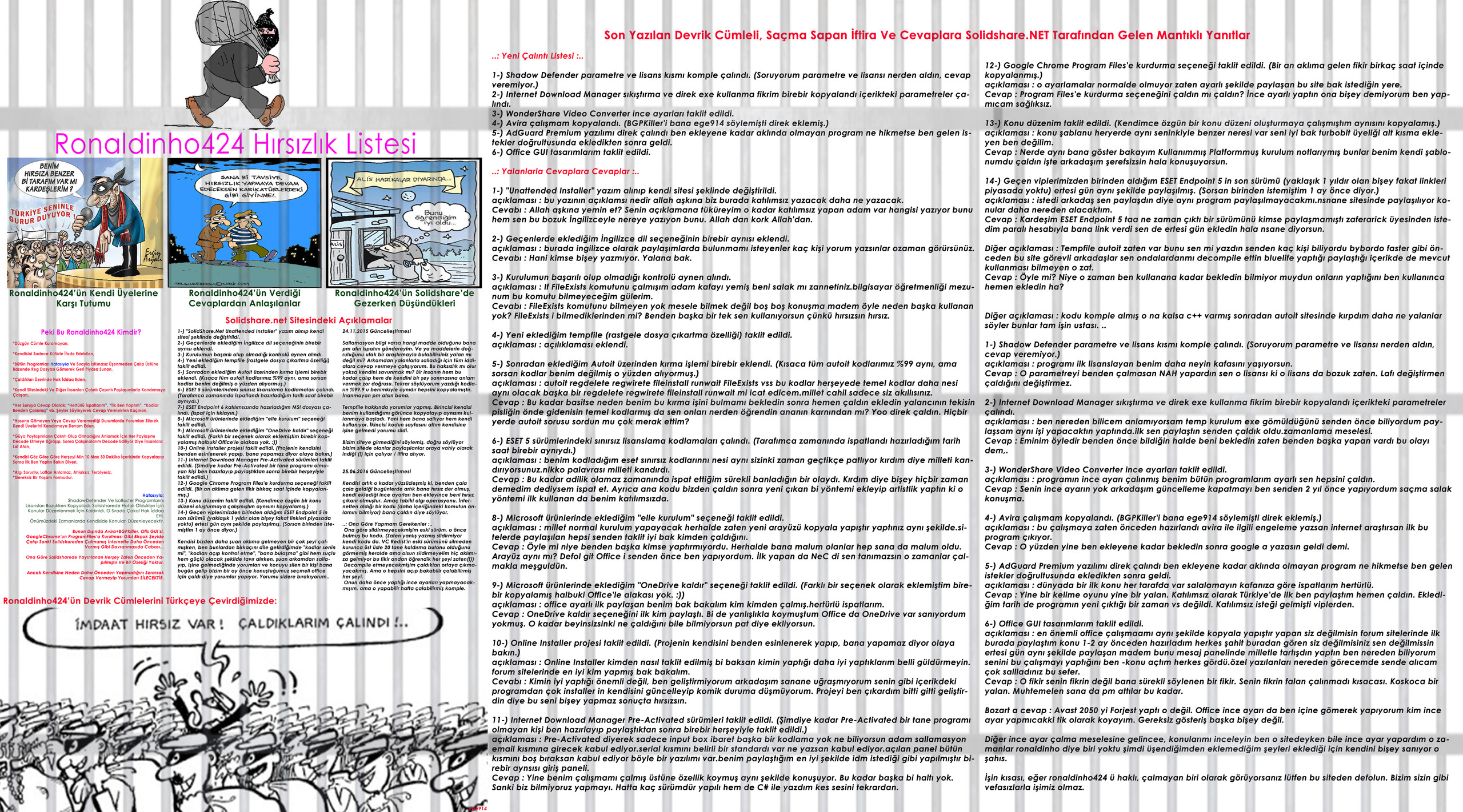 ronaldinho424 Hırsızlık Listesi