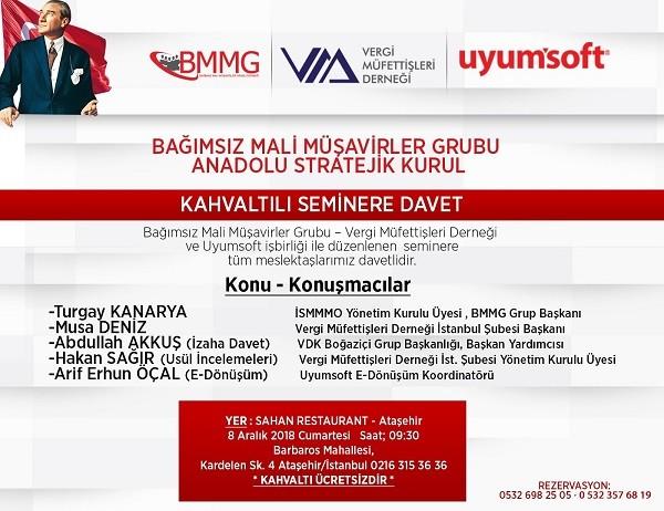 Bağımsız Mali Müşavirler Grubu Anadolu Stratejik Kurulundan;