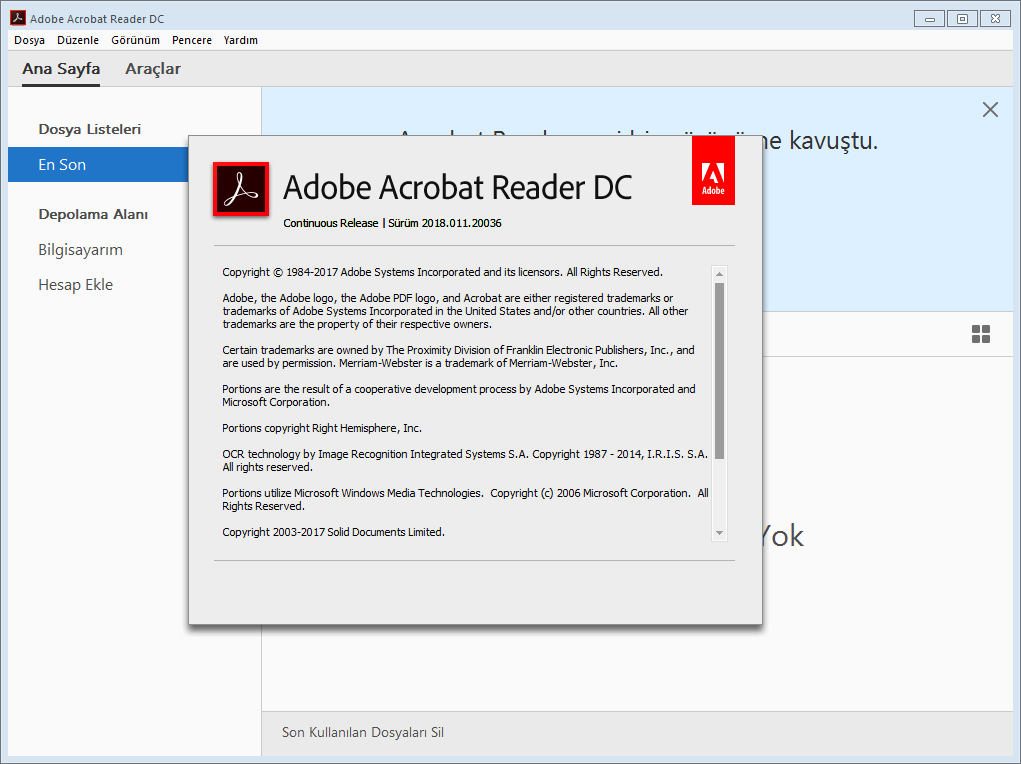 Adobe Acrobat Reader DC 2018.011.20038 | Katılımsız