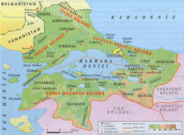 marmara bölgesindeki dağların isimleri, Marmara Bölgesi'ndeki dağlar