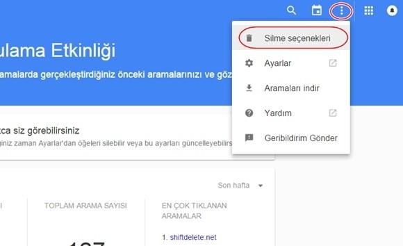 google geçmişi göster