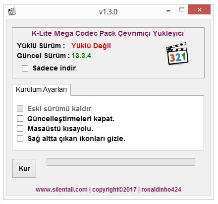K-Lite Mega Codec Pack Çevrimiçi Yükleyici 1.3.1