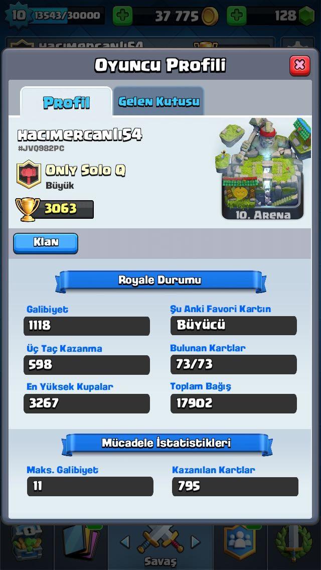 Bütün Kartlar , 10 level , 3000+ kupa