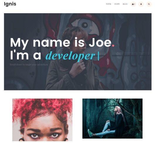 Ignis modern portfolio WordPress Theme