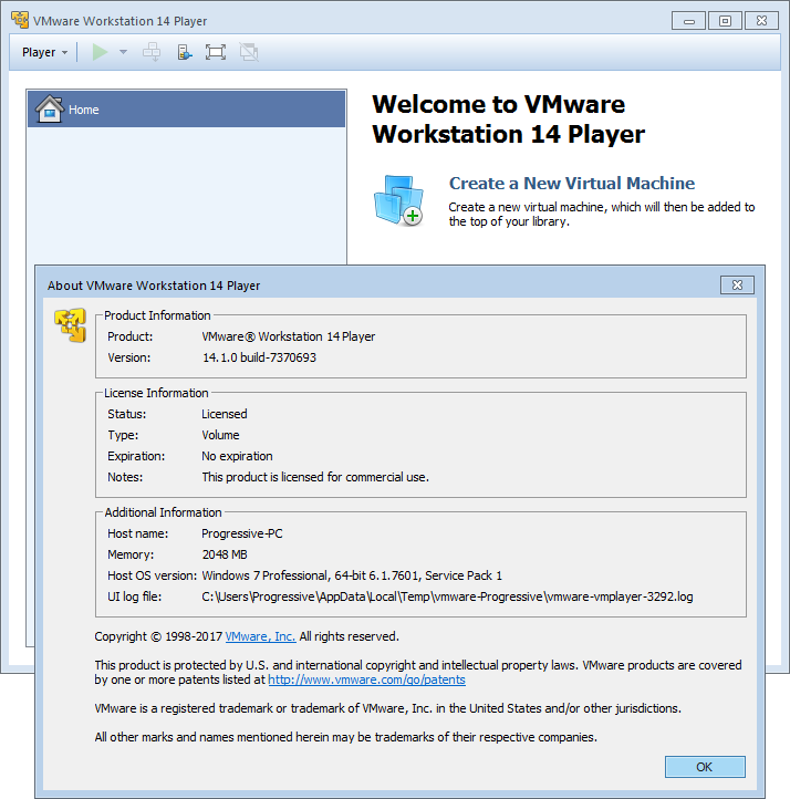 VMware Workstation Player 14.1.1 Build 7528167 (x64) | Katılımsız
