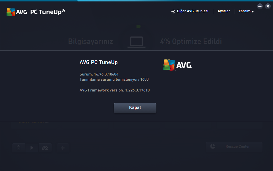 AVG PC TuneUp 2016 16.76.3.18604 | Katılımsız