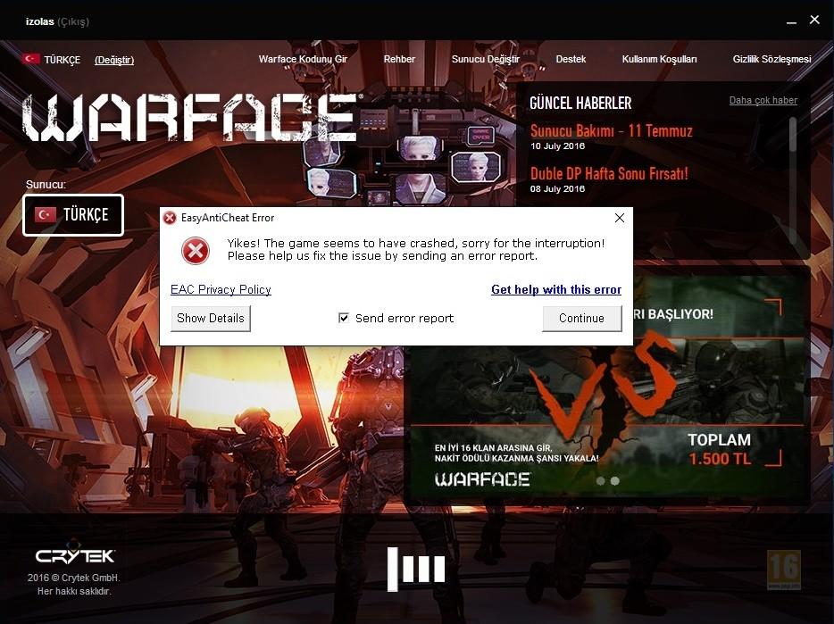 Warface oyunu başlatılamadı: hataları düzelt