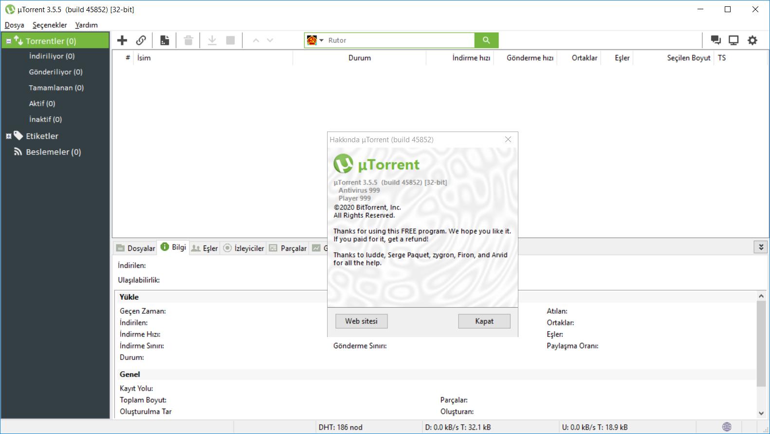 uTorrent 3.5.5.46096 | Katılımsız