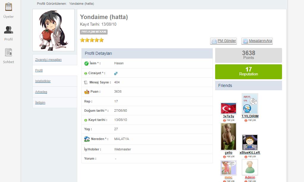 MaxiTR tarzı üye profili sayfası LO2O3Q