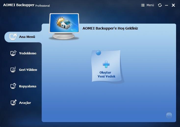 Aomei Backupper Professional 4.1.0 Türkçe   Katılımsız