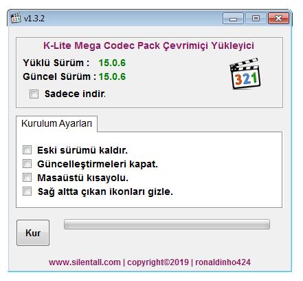 K-Lite Mega Codec Pack Çevrimiçi Yükleyici 1.3.2