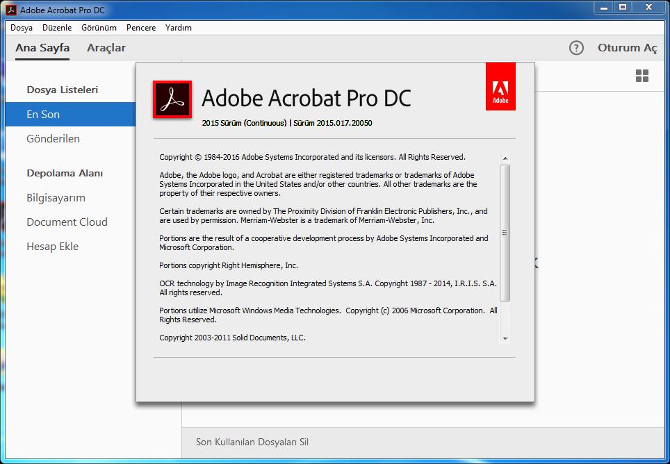 Adobe Acrobat Pro DC 2015.017.20050 Final TR | Katılımsız