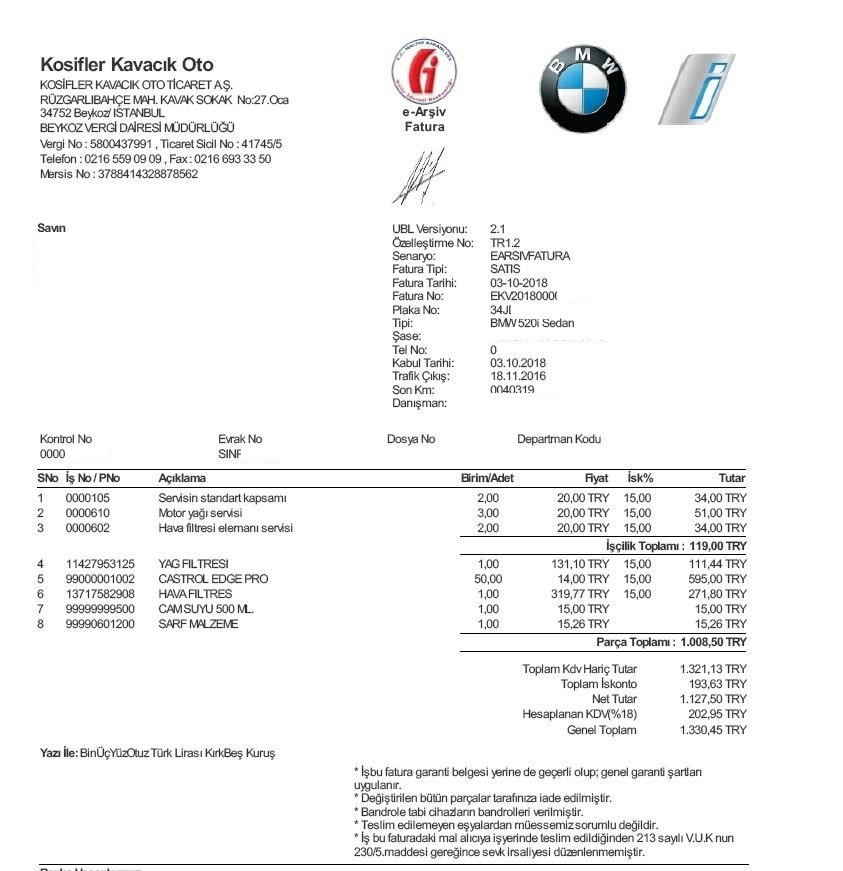 Bmw 520i Servis ücreti Ss Li Motor Yağı Hava Filtresi Sayfa 1 4