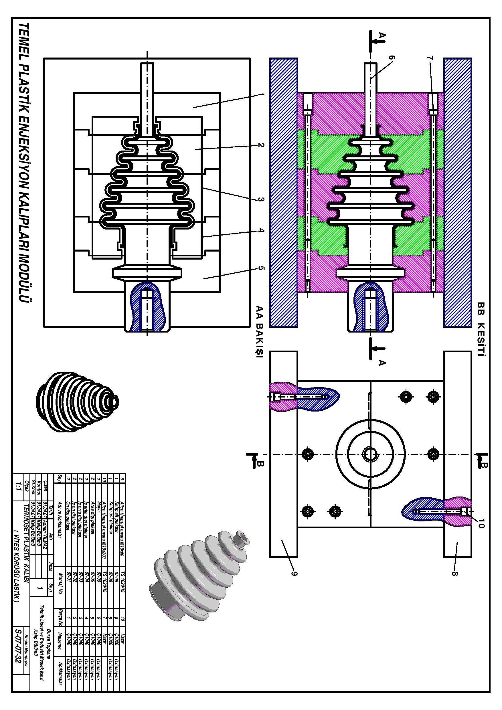 termoset plastik kalıbı (vites körüğü lastik)