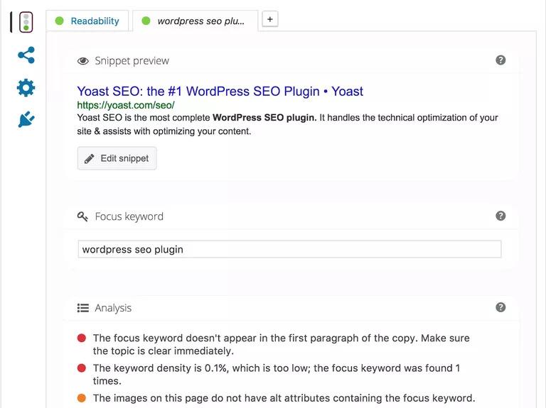 WordPress için Yoast SEO ekran görüntüsü