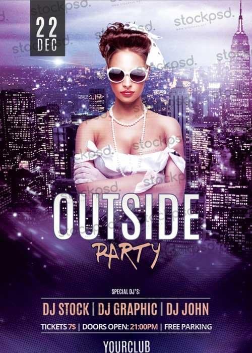 Outside Party V4 Photoshop PSD Flyer