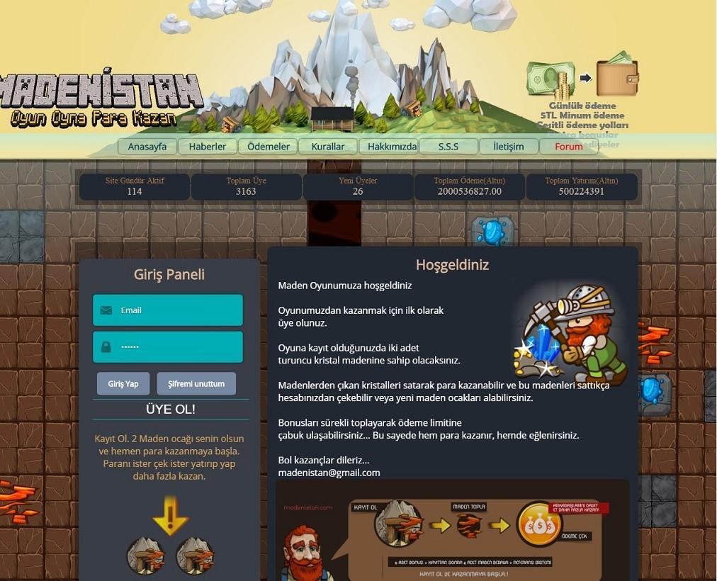 Ücretsiz Online Oyun(Madenistan) Scripti