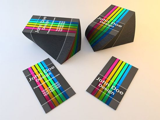 Color Stripped Business Cards