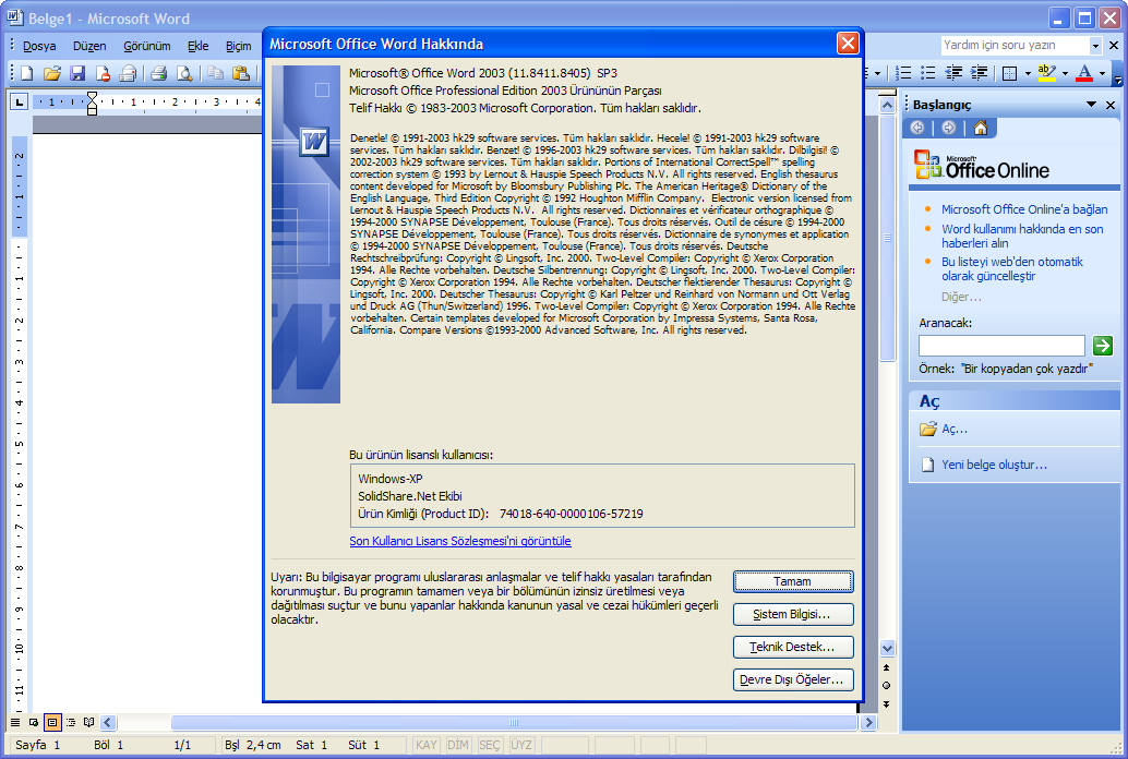 Microsoft Office 2003 Professional SP3 Lite TR (Temmuz 2018)   Katılımsız