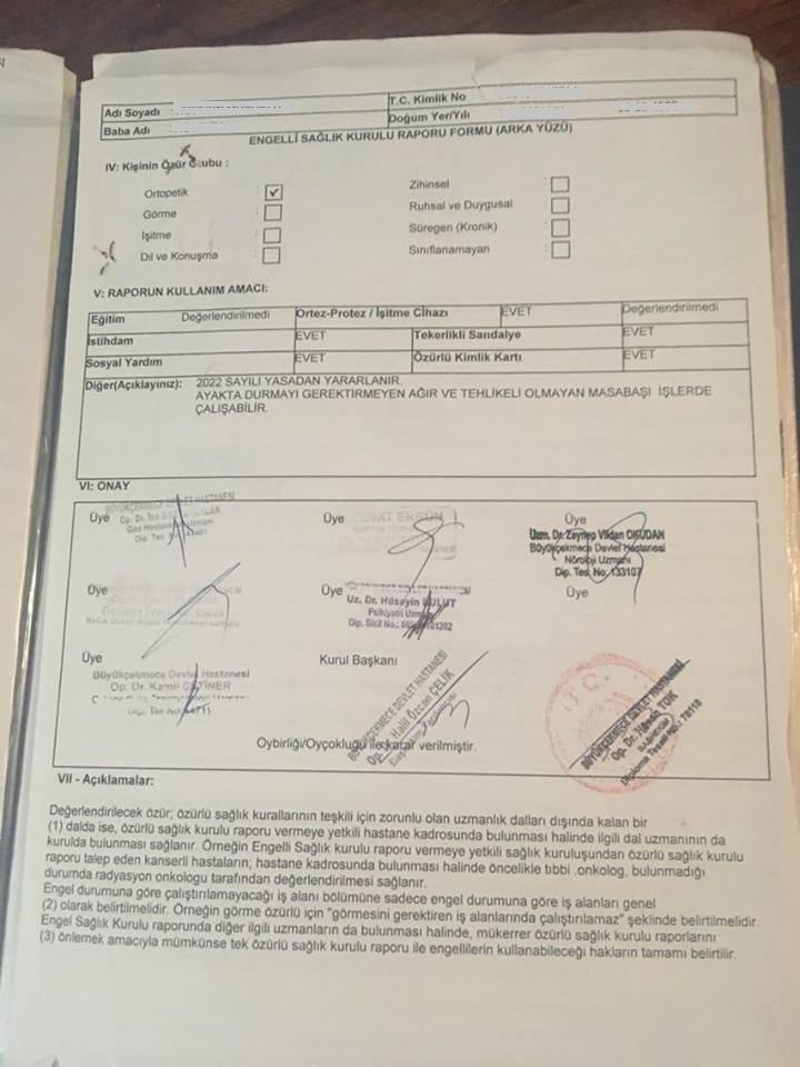 o0EVkk - H sınıfı sürücü belgesi ve ÖTV'siz araç alımı için rapor paylaşımları