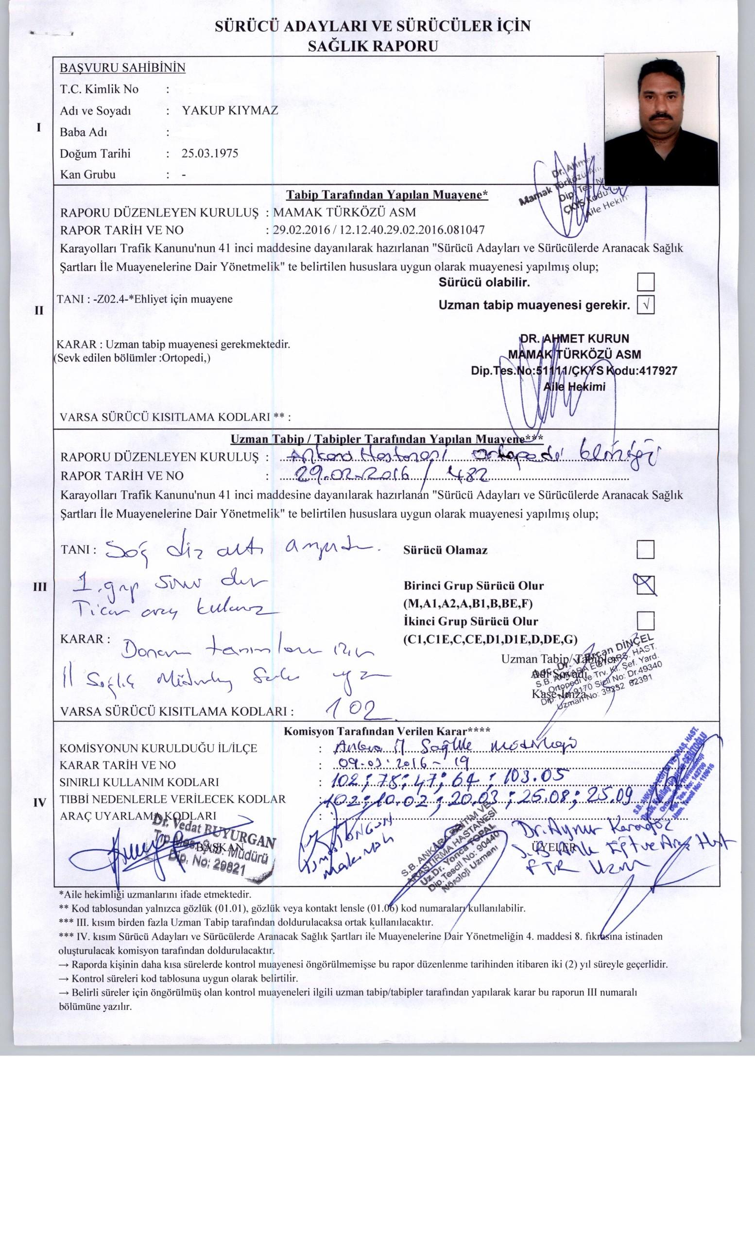 o305Eo - H sınıfı sürücü belgesi ve ÖTV'siz araç alımı için rapor paylaşımları