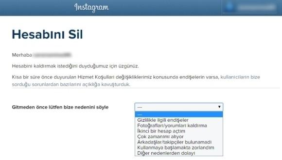 instagram hesap silme instagram