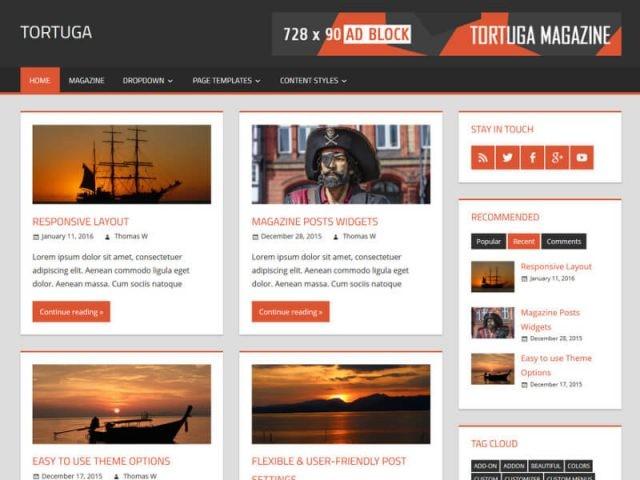 Ücretsiz Tortuga Wordpress Teması