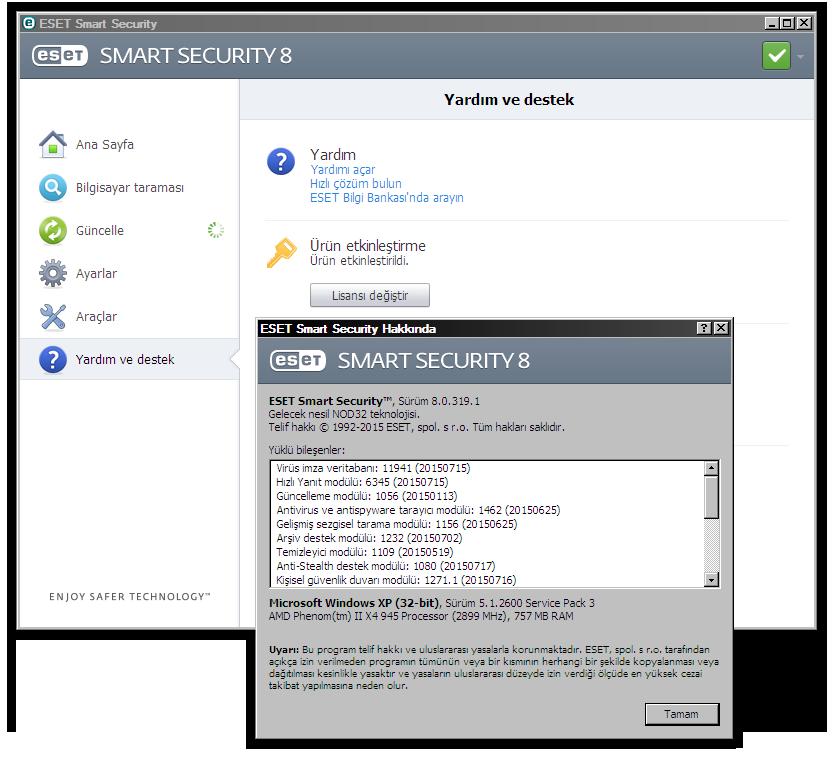 ESET Smart Security & ESET NOD32 Antivirus 8.0.319.1 Final TR [ x86 - x64 ] | Katılımsız