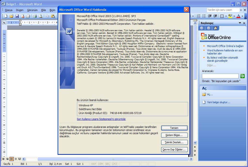 Microsoft Office 2003 Professional SP3 Lite TR  (Aralık 2016) | Katılımsız