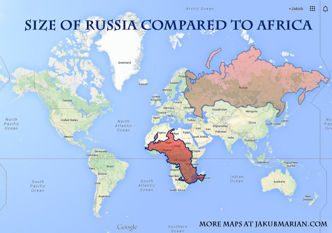 Size of Russia compared to Africa