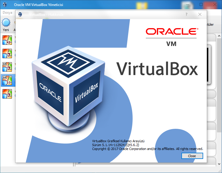 VirtualBox 6.1.2 Build 135662 | Extension Pack | Katılımsız