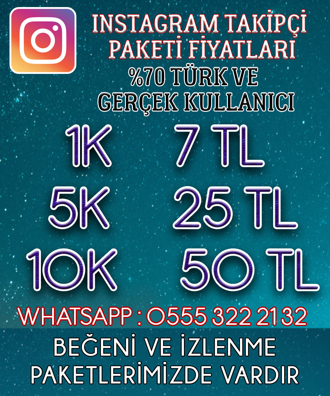 Instagram Takipçi İçin - % 100 TÜRK MEVCUT