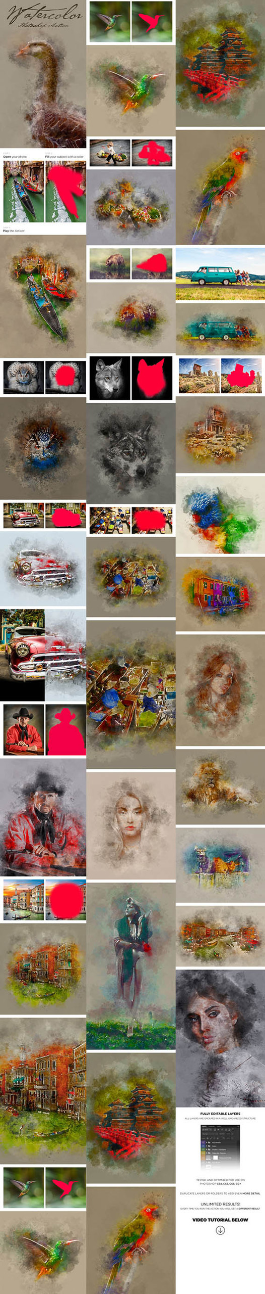 Watercolor Effects Photoshop Action 17456862