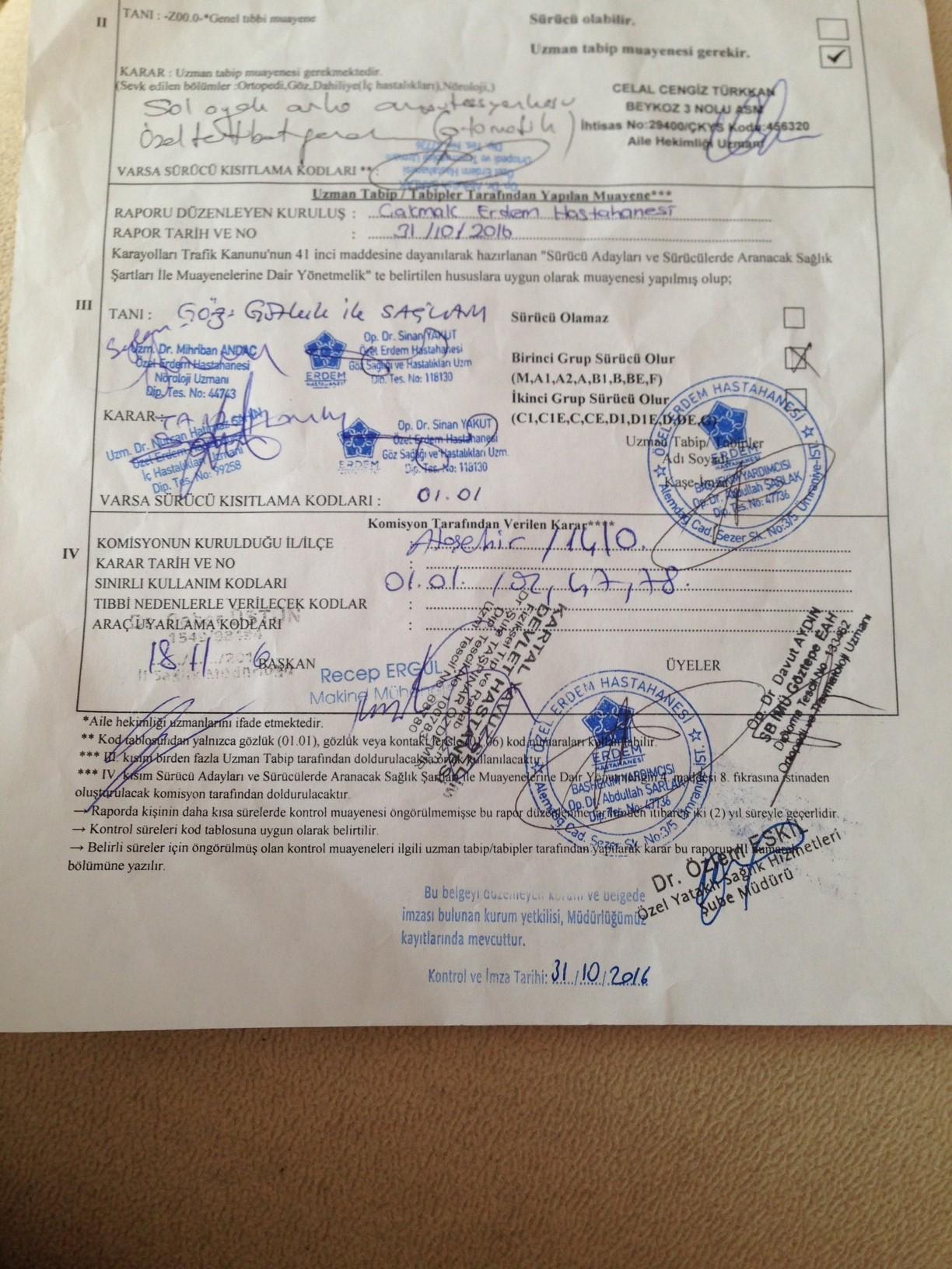 qjqVVD - H sınıfı sürücü belgesi ve ÖTV'siz araç alımı için rapor paylaşımları